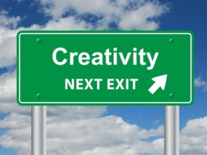 """CREATIVITY Next Exit"" Sign (innovation ideas imagination team)"